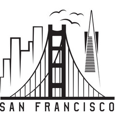 san francisco skyline design template vector image vector image