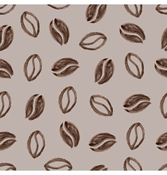 seamless pattern with watercolor coffee beans vector image