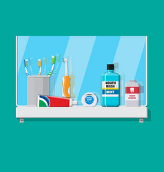bathroom mirror and dental cleaning tools vector image vector image