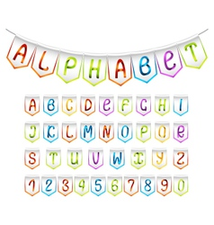 Bunting alphabet and numbers set vector image vector image