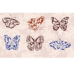 Butterfly icons tattoo vector image