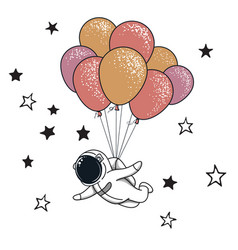 funny spaceman fly with many balloons vector image
