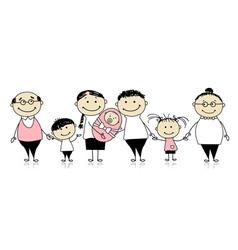 Happy big family with children newborn baby vector image