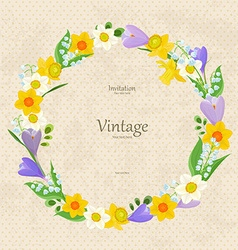 vintage invitation card with wreath of fine spring vector image vector image