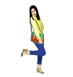 Woman with a bag multicolor vector