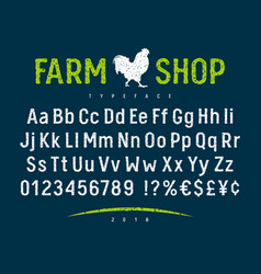 farm shop font 001 vector image vector image