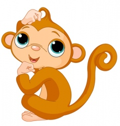 thinking monkey vector image vector image