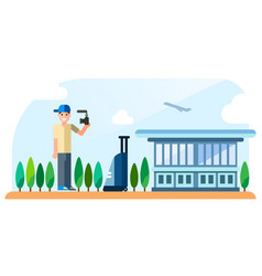 a traveling blogger stands on the airport vector image