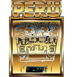 Ancient Peruvian gold ornament vector