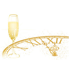 background with champagne and golden dial vector image