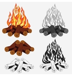 Bonfire set - camping vector