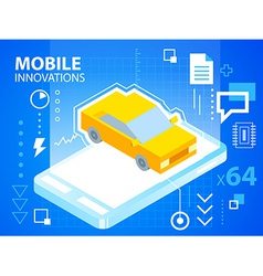 Bright mobile phone and car on blue backgrou vector