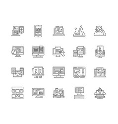 browser line icons signs set outline vector image