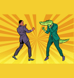 Businessman boxing with a crocodile vector