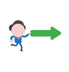 businessman running and holding right arrow vector image