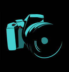 Camera logo blue on a black background vector