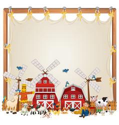 Canvas frame template with animal farm isolated vector