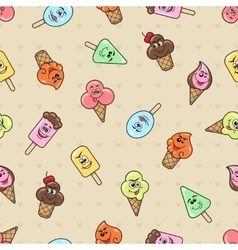 Cartoon character ice cream seamless pattern vector image