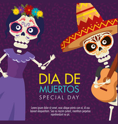 Catrina and skeleton man with guitar to day of the vector
