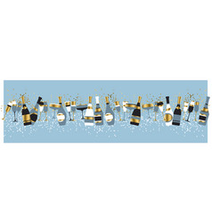 champagne bottles and glasses color vector image