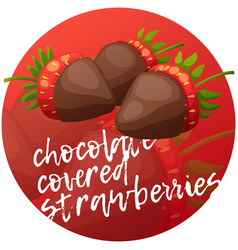 Chocolate covered strawberries icon cartoon vector