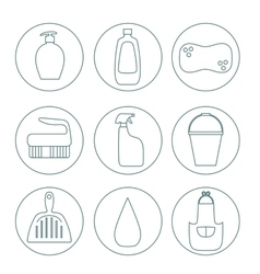 Cleaning products flat icon set vector image