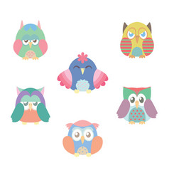 collection of six colorful owls vector image