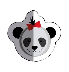 Color sticker with female panda head and middle vector