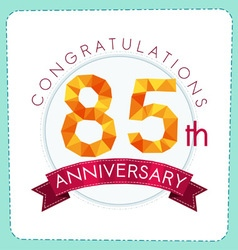 Colorful polygonal anniversary logo 3 085 vector