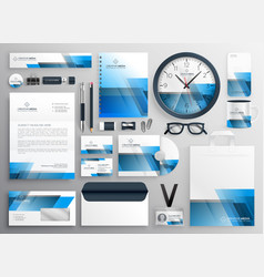 Corporate business stationery big set with blue vector