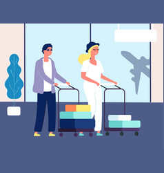 Couple in airport man woman with luggage vector