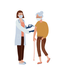 covid19-19 vaccination concept old woman having vector image