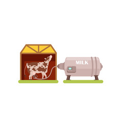 Cow and a milking machine production of milk vector