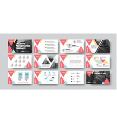 Creative presentation template with red triangles vector