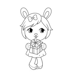 cute baby rabit girl in dress holding gift box vector image
