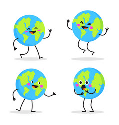 Cute cartoon earth globe with emotions character vector