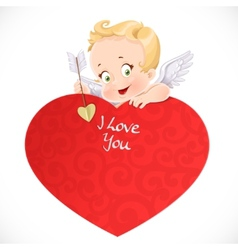 Cute cupid with a big red valentine card isolated vector image