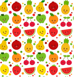 cute happy smiling funny raw fruit vector image