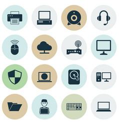 device icons set collection of tree router vector image