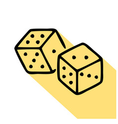 Dice cubes line icon pictograph craps game vector