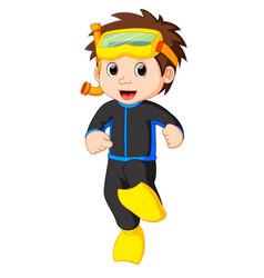 Diver boy cartoon vector