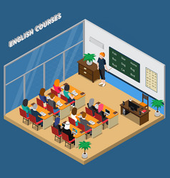 English courses isometric composition vector