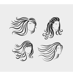 Female head silhouettes with long hair vector