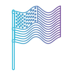 flag united states of america in pole waves in vector image