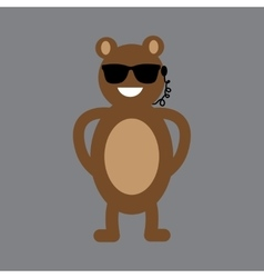 Flat icon on gray background bear cartoon vector