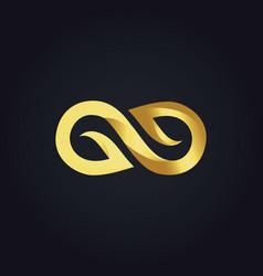 Gold 3d infinity logo vector