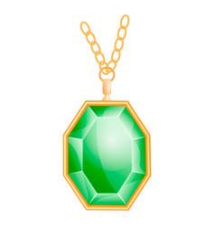 green gemstone mockup realistic style vector image