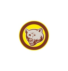 Grizzly Bear Head Circle Retro vector