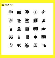 Group 25 modern solid glyphs set for gunman vector