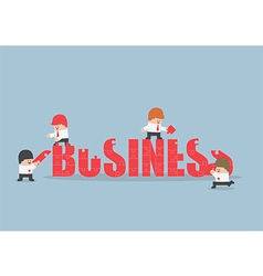 Group of business people assembling jigsaw puzzle vector image